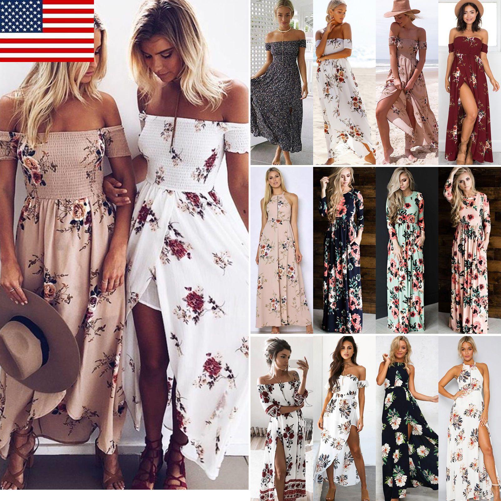 3a93524828eb US Women Boho Long Maxi Dress Floral Vintage Summer Evening Party Beach  Sundress