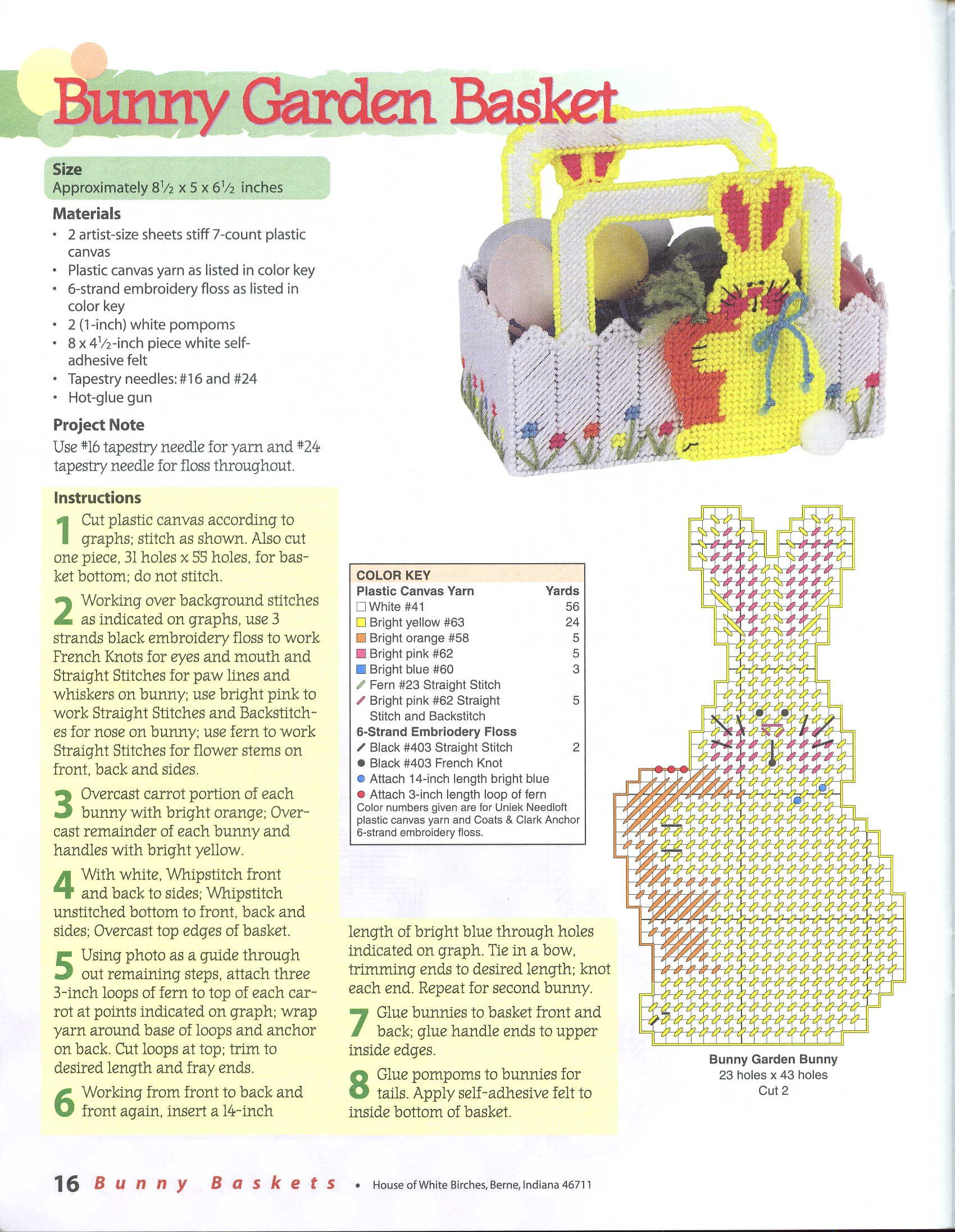 Bunny Basket 16 Plastic Canvas Easter Basket Plastic Canvas Patterns Plastic Canvas Ornaments
