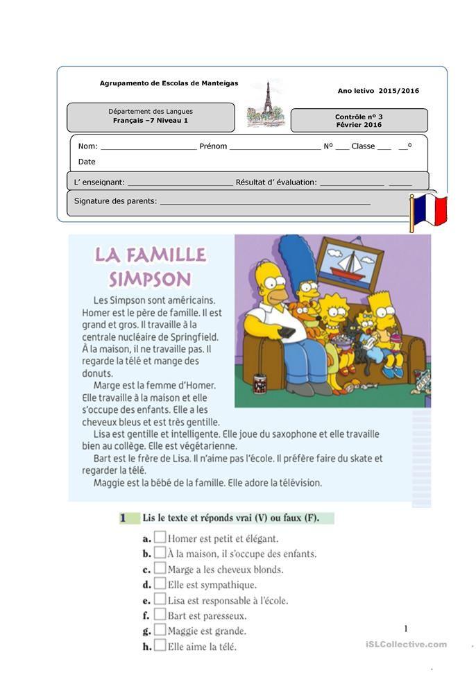 Contra Le Niveau 1 A La Famillea Lezioni Di Francese Istruzione E Francese