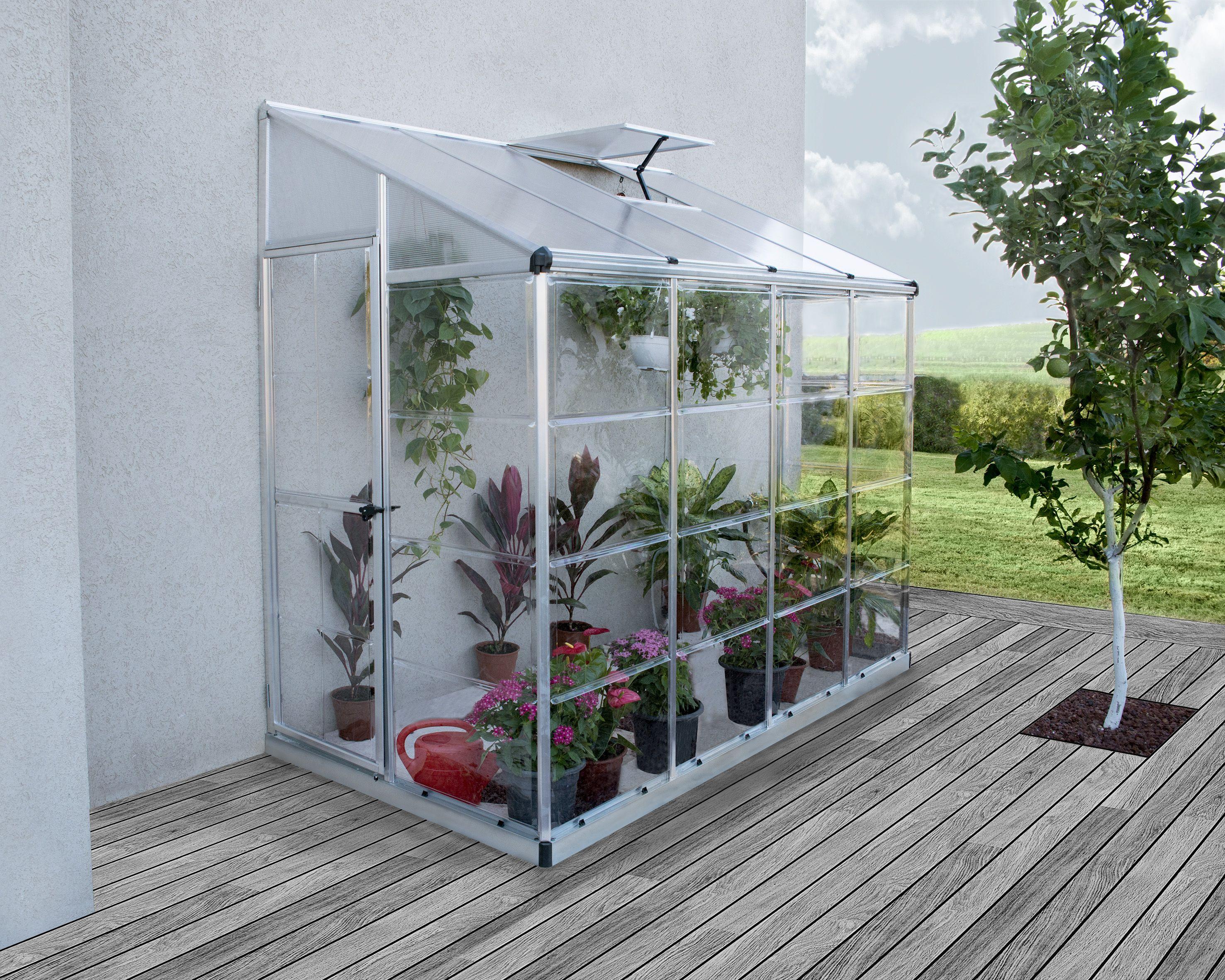Palram Leanto Grow House 4x8 Greenhouse, Vertical herb