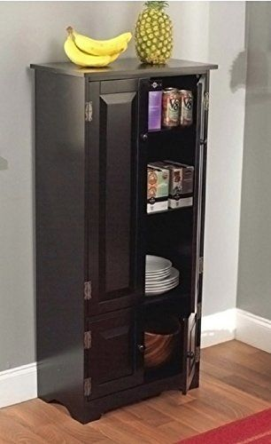 Tall Kitchen Cabinet Black Has Two Fixed And Two Adjustable Shelves Simple Living Http W Wood Storage Cabinets Tall Cabinet Storage Tall Kitchen Cabinets
