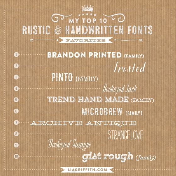My Top Ten Favorite Rustic and Handwritten Fonts | Fonts