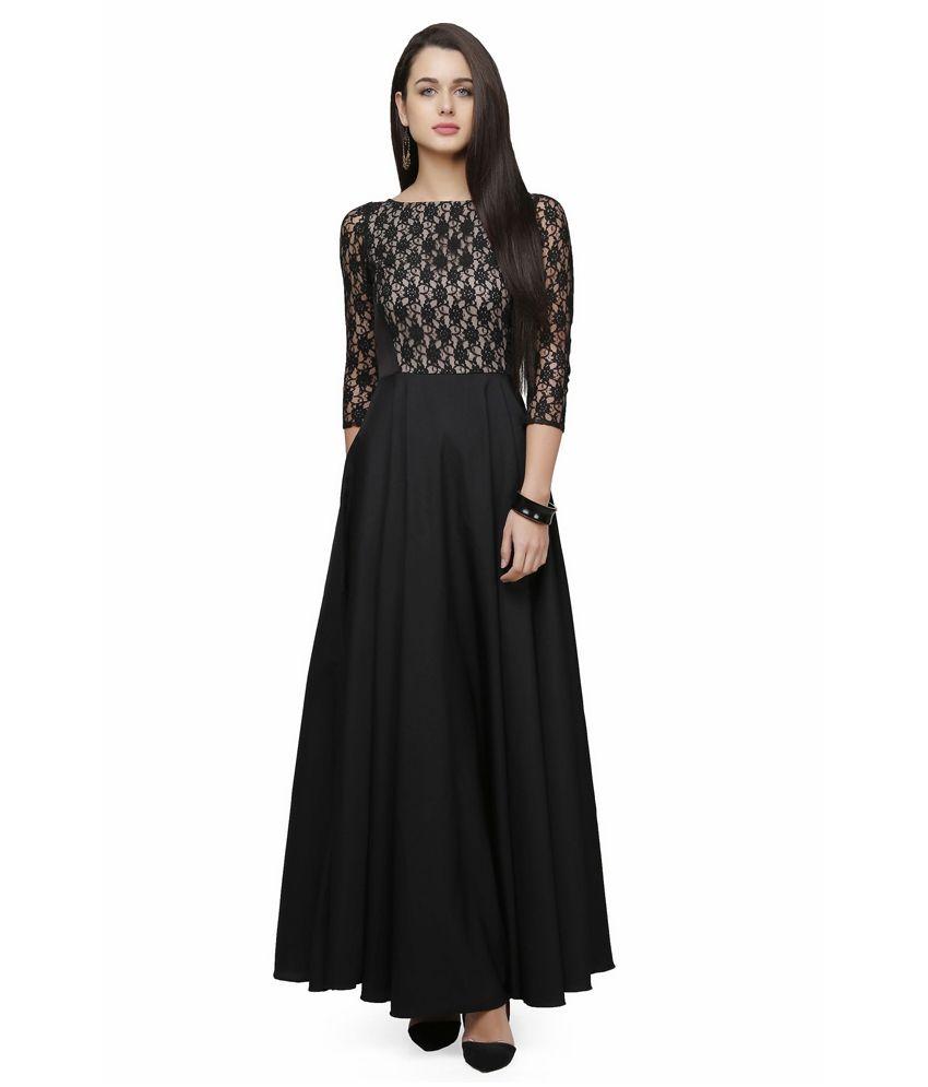 af980a1ec677 Buy V m Black Poly Crepe Maxi Dress Online at Best Prices in India -  Snapdeal