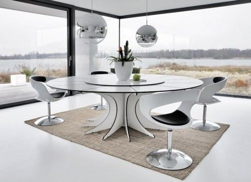 Futuristic Dining Room Furniture With Metallic Colors Combination Read  More: Http://decorationchannel