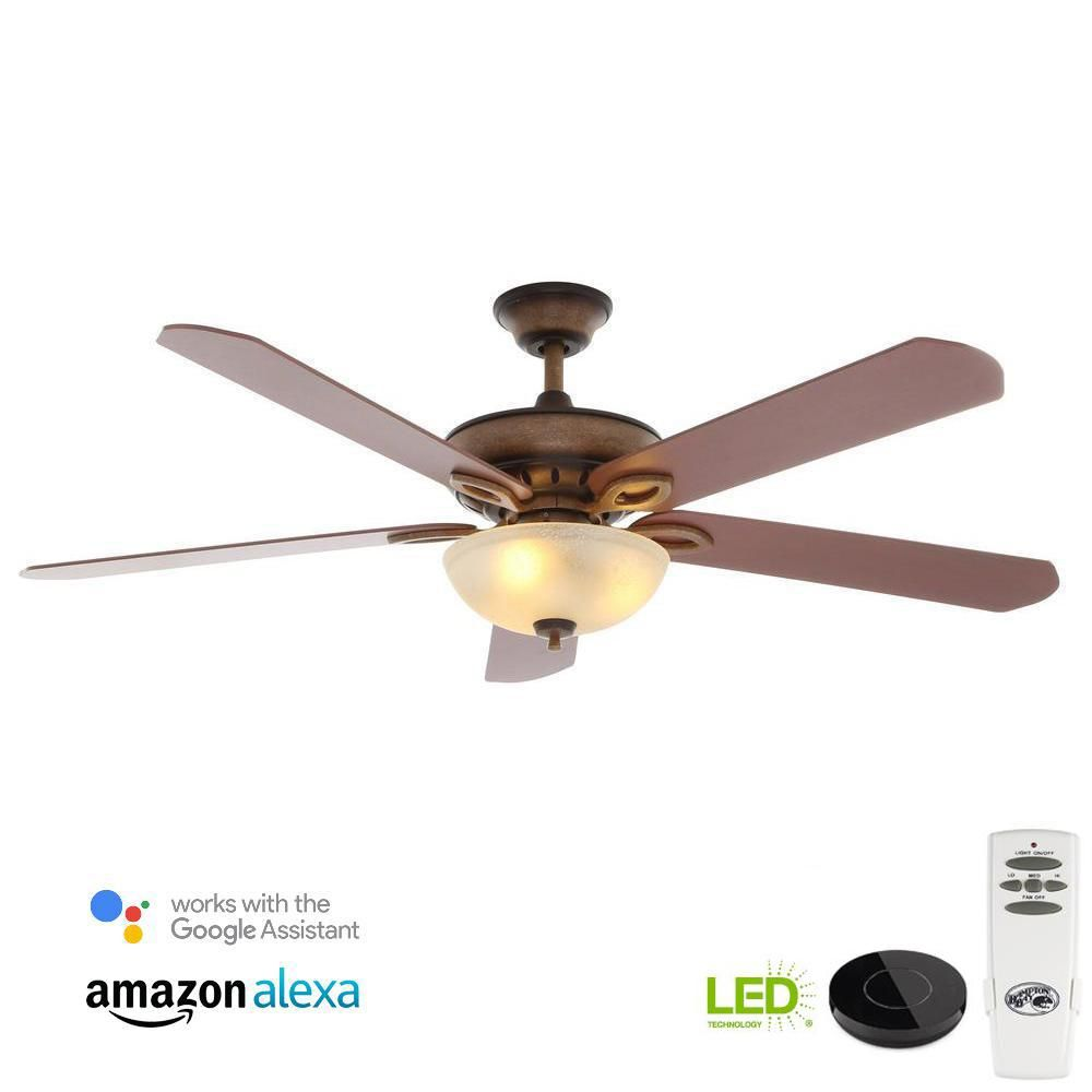Hampton Bay Asbury 60 In Led Oil Rubbed Bronze Ceiling Fan With