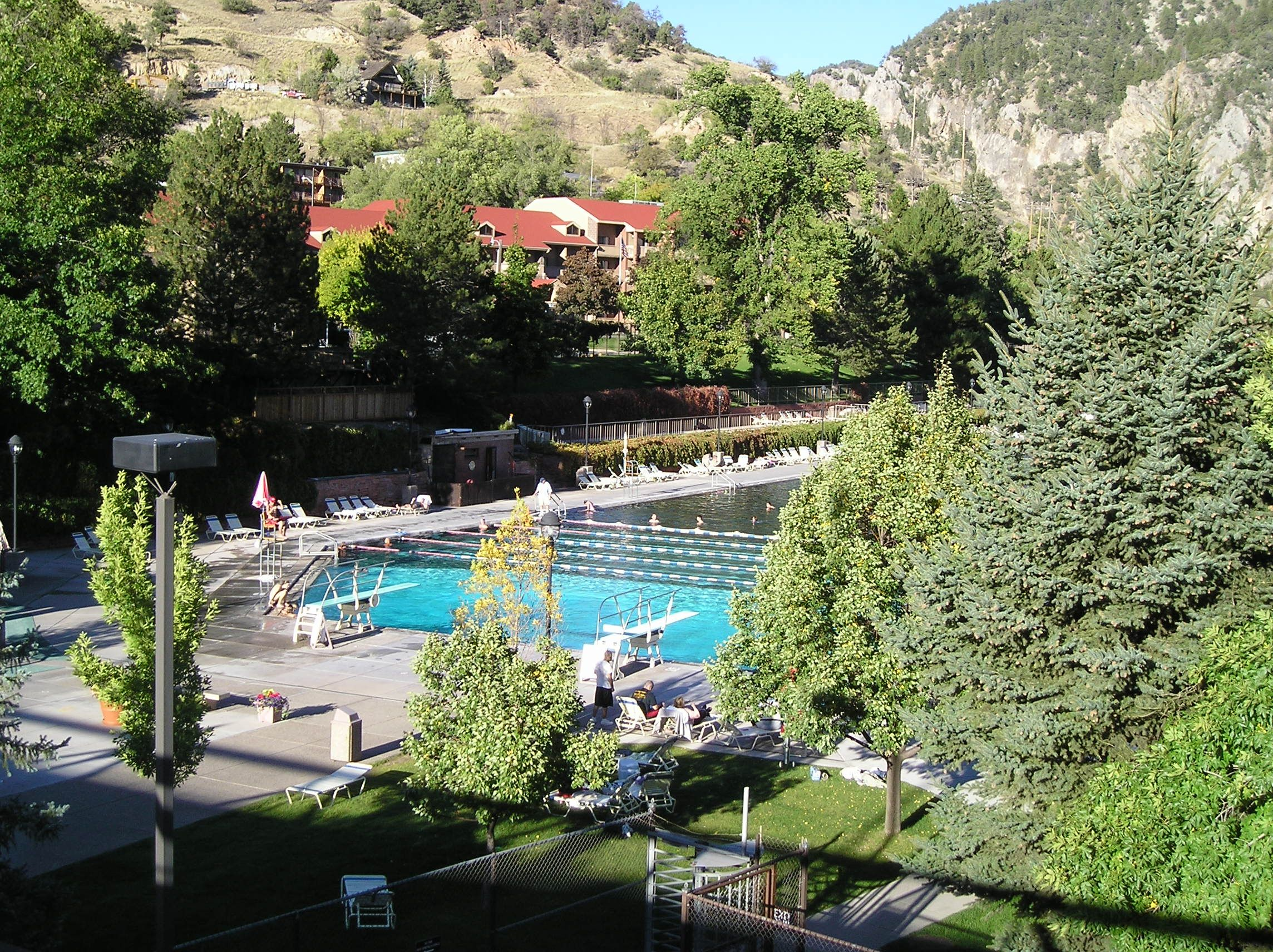 Hot Springs Lodge & Pool.  The lodge is in the trees above pool.
