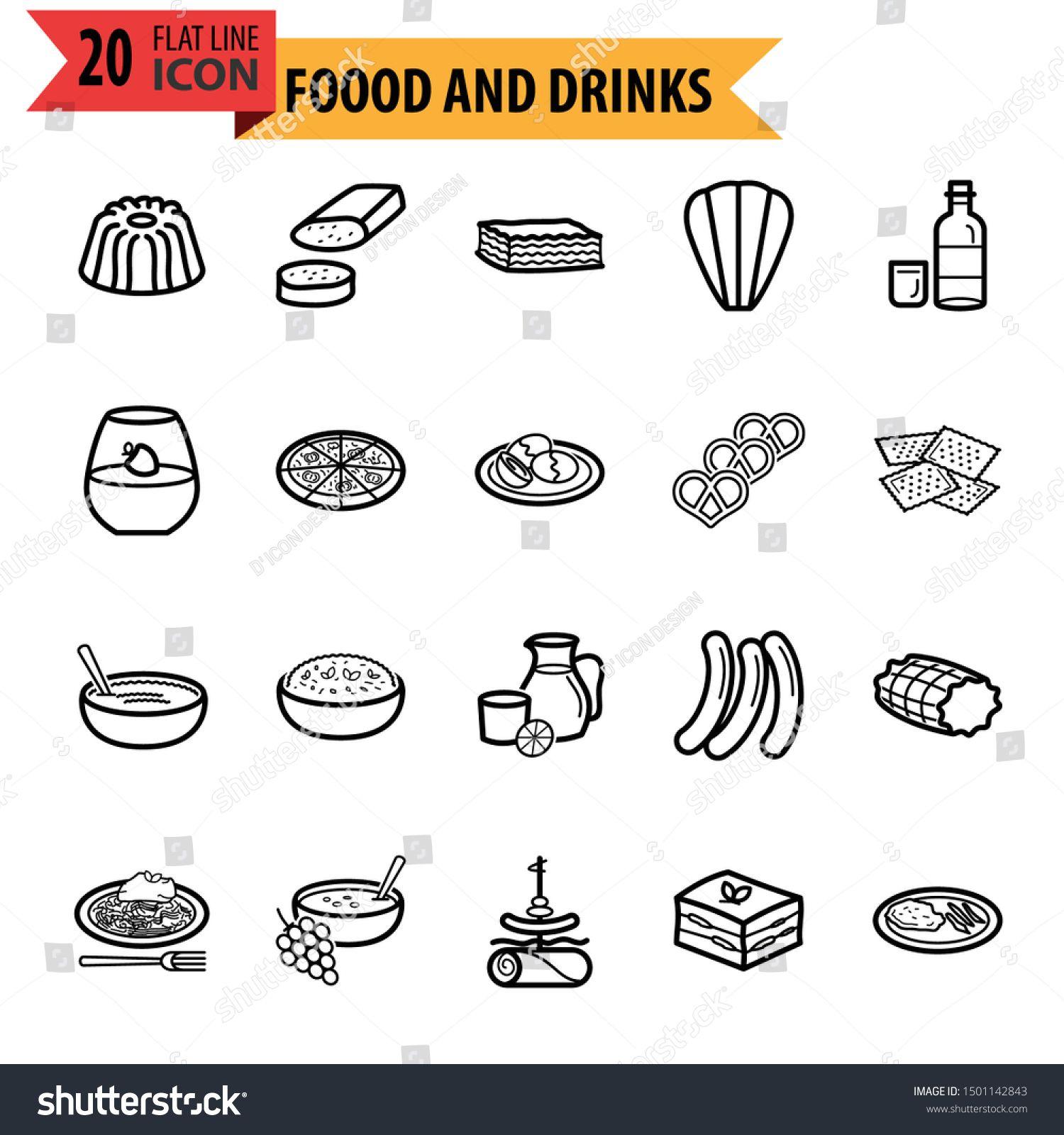 Modern Food and Drinks Restaurant Icon Set #Sponsored , #AFFILIATE, #Drinks#Food#Modern#Set