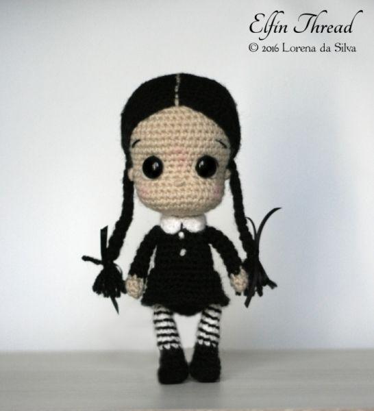 Wednesday Addams Chibi Doll amigurumi pattern by Elfin Thread ...