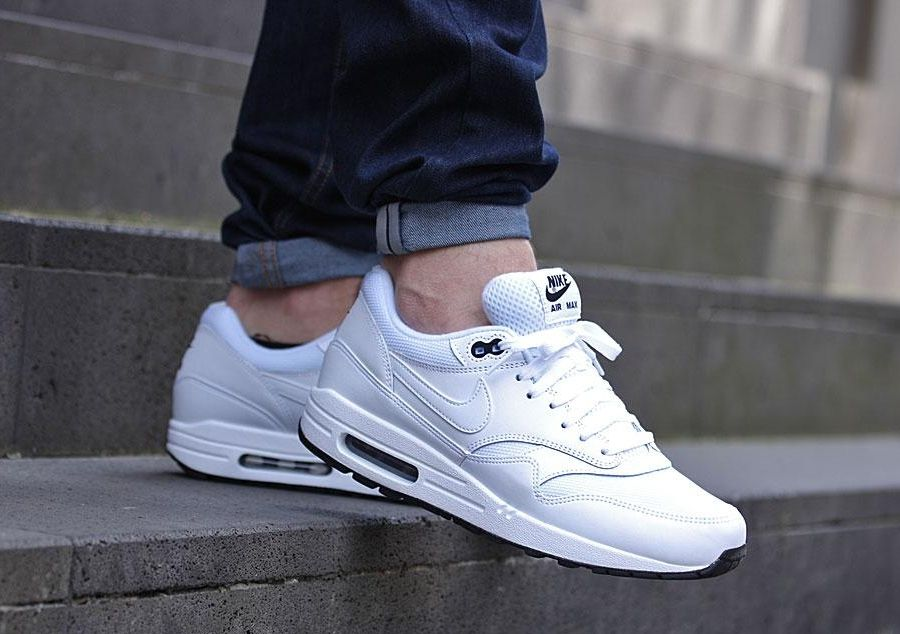 Nike Air Max 1 Robe En Cuir Rose Gris Blanc Essentiel
