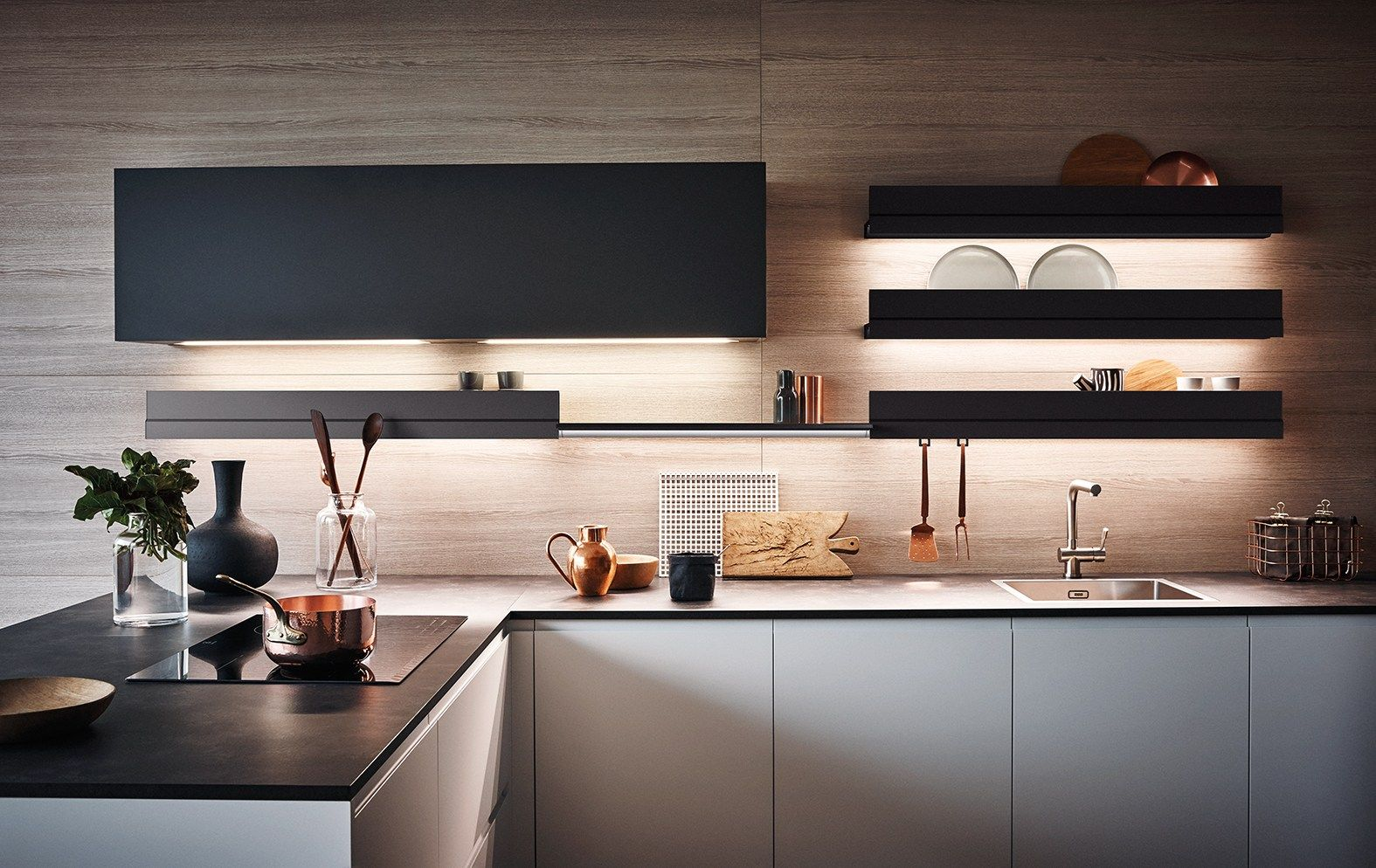 Lacquered Melamine Fitted Kitchen With Peninsula Maxima 2 2 Composition 6 By Cesar Arredamenti Kitchen Fittings Modern Kitchen Furniture Contemporary Kitchen