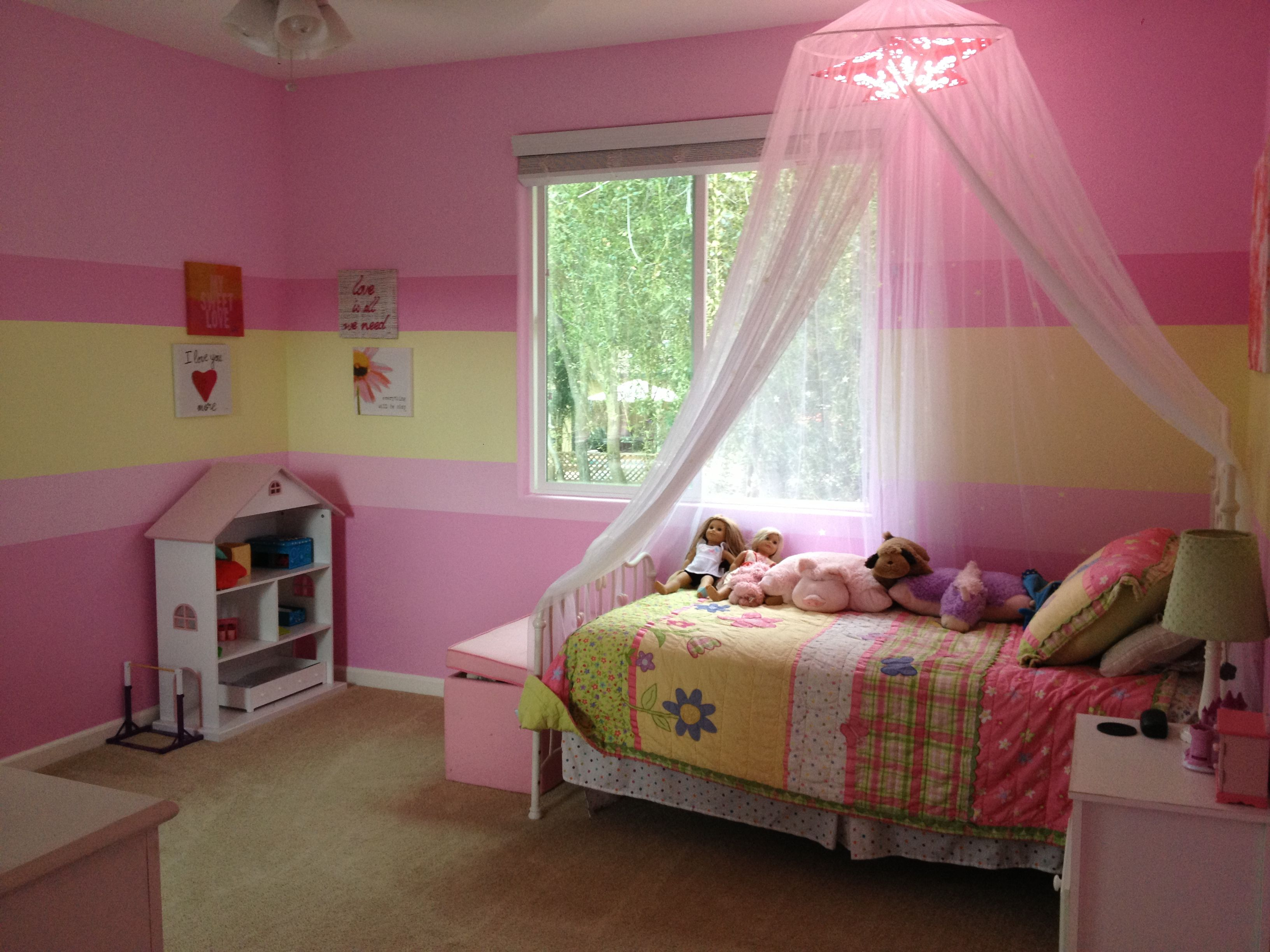 Girls bedroom painted stripes of pink and green so girly and