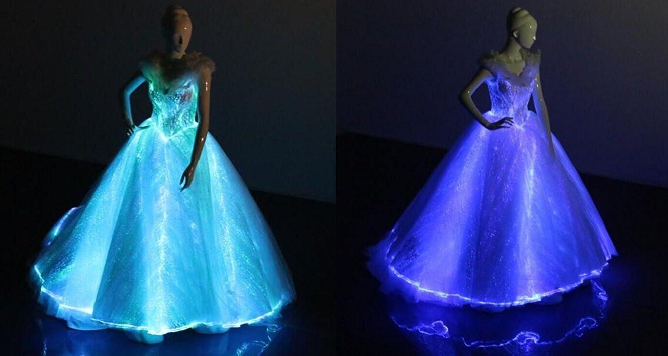 Light Up Evening Dress Met Gala Gown Glow In The Dark Wedding Dress Luminous Fiber Optic Bridal Gow Dark Wedding Dress Light Up Dresses Cute Homecoming Dresses [ 710 x 1329 Pixel ]