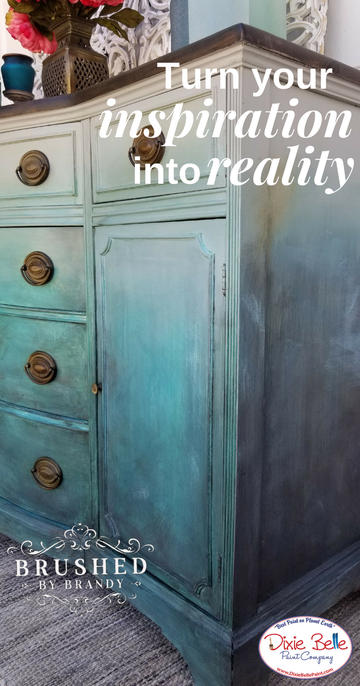 This Piece Is Painted With Driftwood Copper Patina Paint With Blue And Green Spray Pearlescen Painted Furniture Painting Furniture Diy Sand Painted Furniture