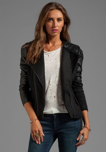 BLANKNYC Jacket with Leather Detail in Litter