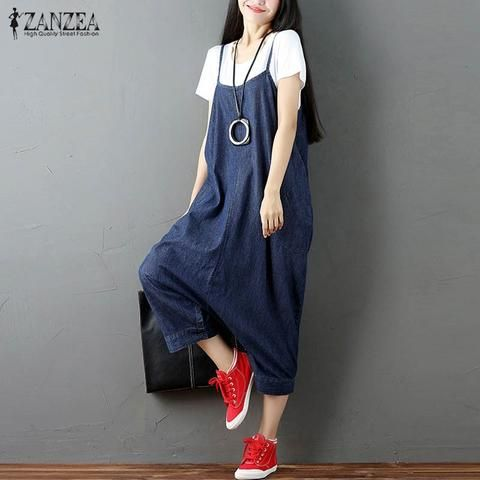 8cf22d21de8b S-5XL ZANZEA Women Oversized Buttons Strappy Harem Romper Loose Dungaree  Overalls Bib Pants Baggy Suspender Skirt Jumpsuit 2018