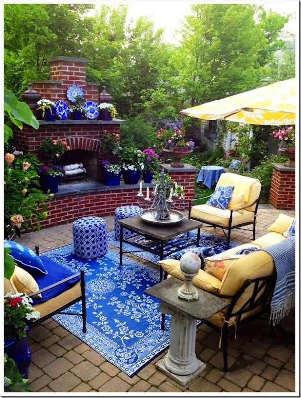 Best Yellow And Blue Patio Outdoor Rooms Backyard Patio 400 x 300