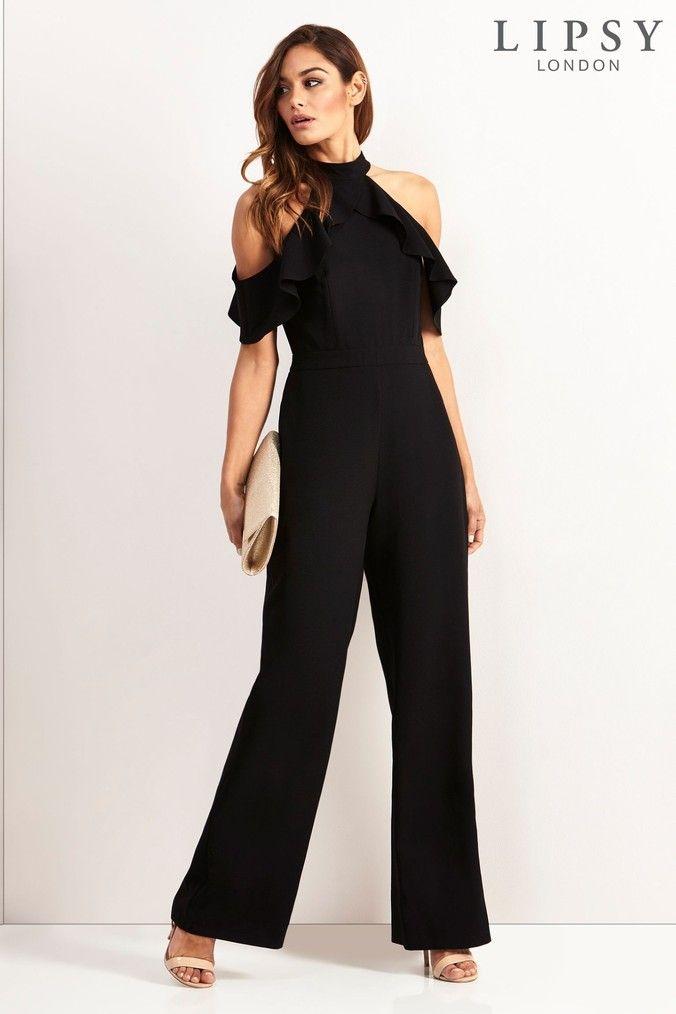 7aaf9feac43a Womens Lipsy Petite Ruffle Halter Neck Jumpsuit - Black