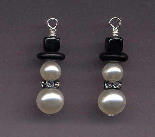 Swarovski Pearl Snowman Earrings With Gunmetal Rhinestone Collar How Difficult Would This Be To Diy Not Very D