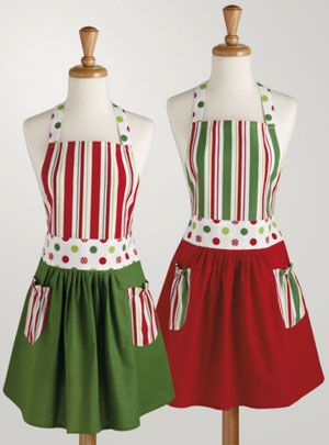 Peppermint Polka Dots and Stripes Apron
