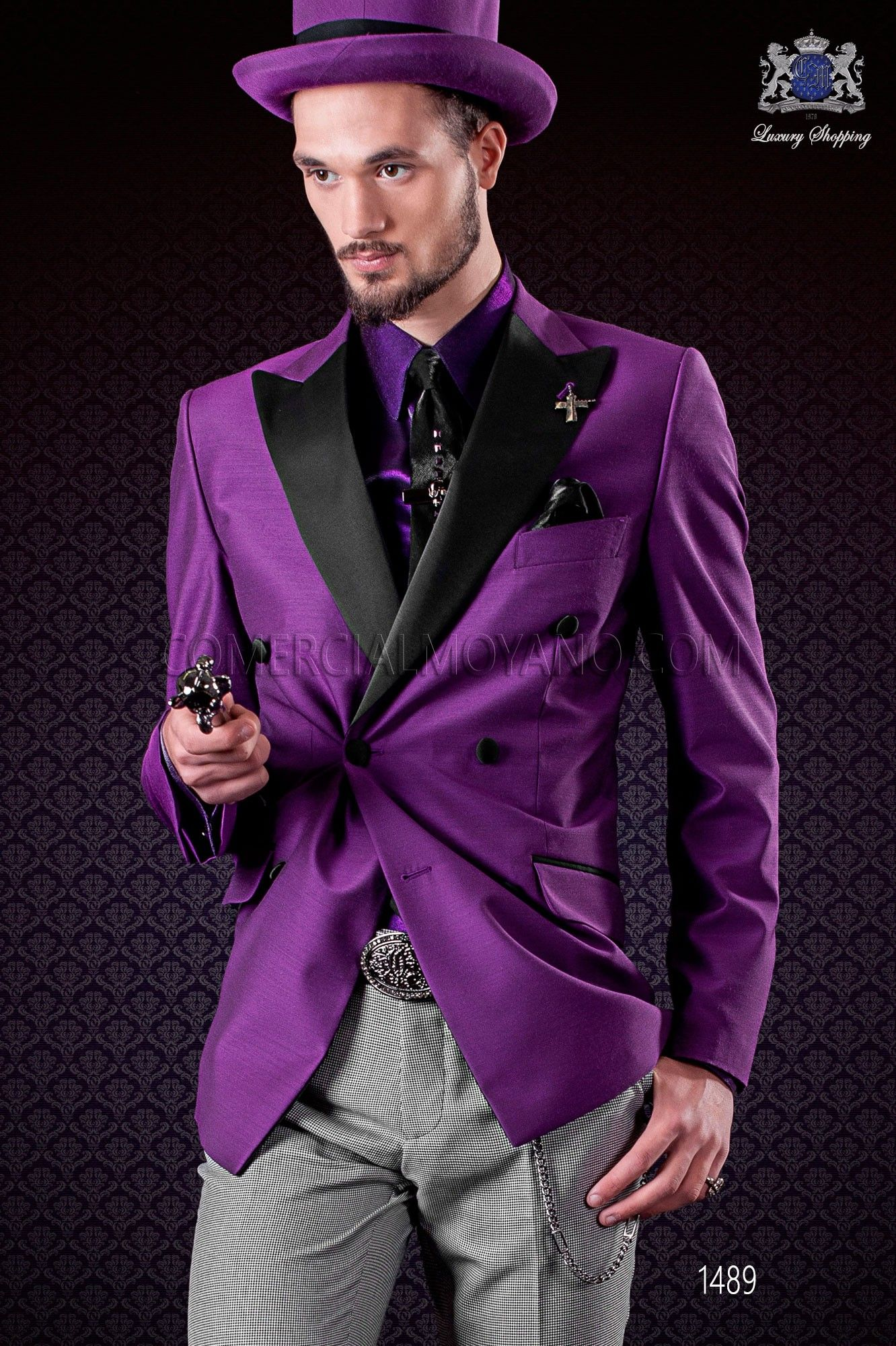 Double breasted purple jacket with satin peak lapels and 6 buttons ...