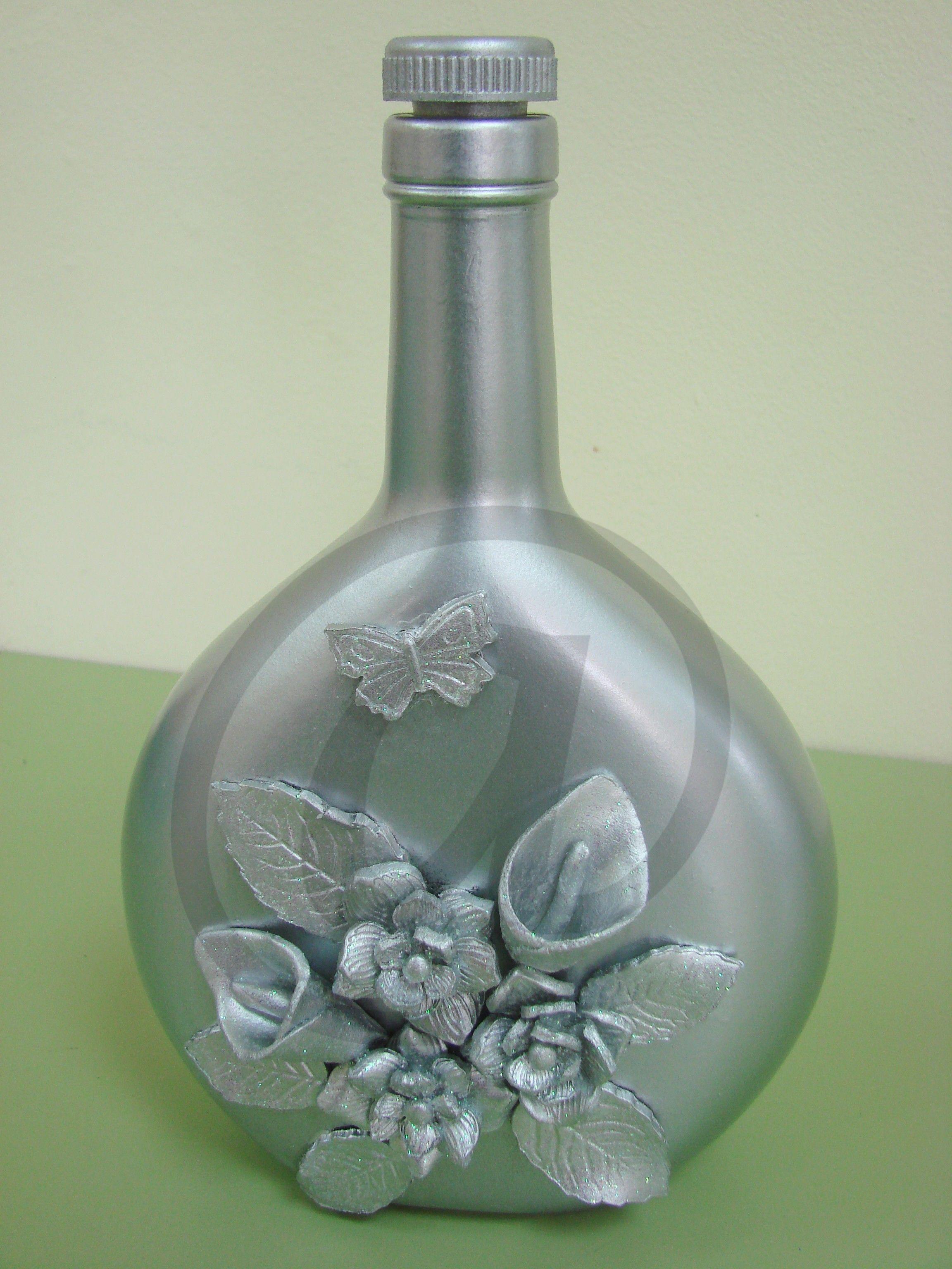 Botella de cristal pintada a mano con pasta botellas de cristal decoradas y pintadas - Botellas de cristal decoradas ...