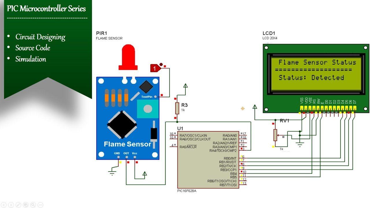 Flame Sensor Interfacing With Pic16f628a Simulation Digital Logic Pic Microcontroller Sensor Digital