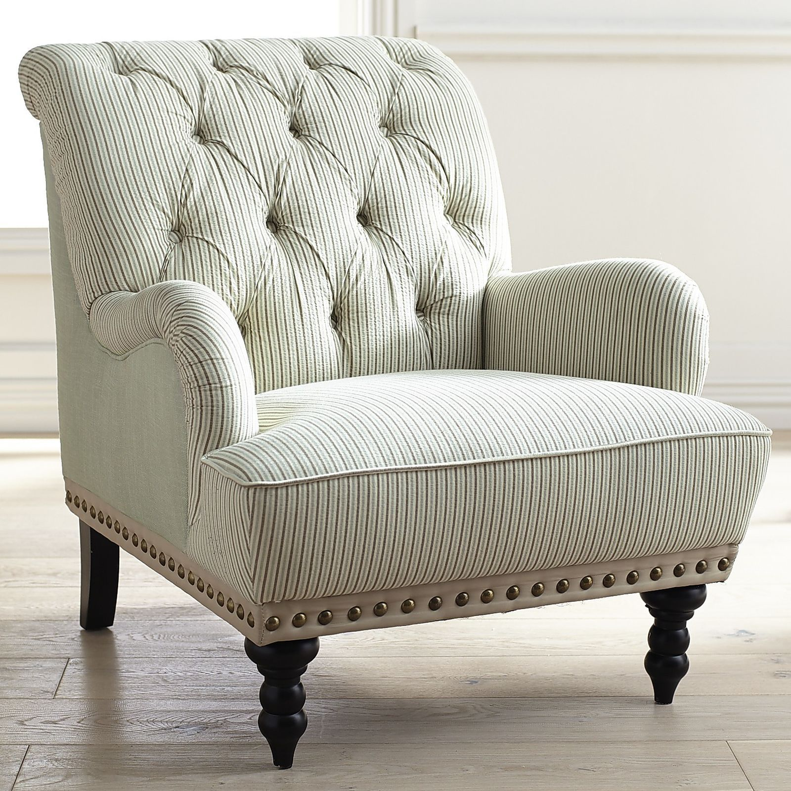 Sessel Gestreift Seersucker: Not Just For Granddad's Suits Anymore. Overstuffed And Tufted, This Dandy Armcha… | Brown And Blue Living Room, Overstuffed Armchair, Living Room Update