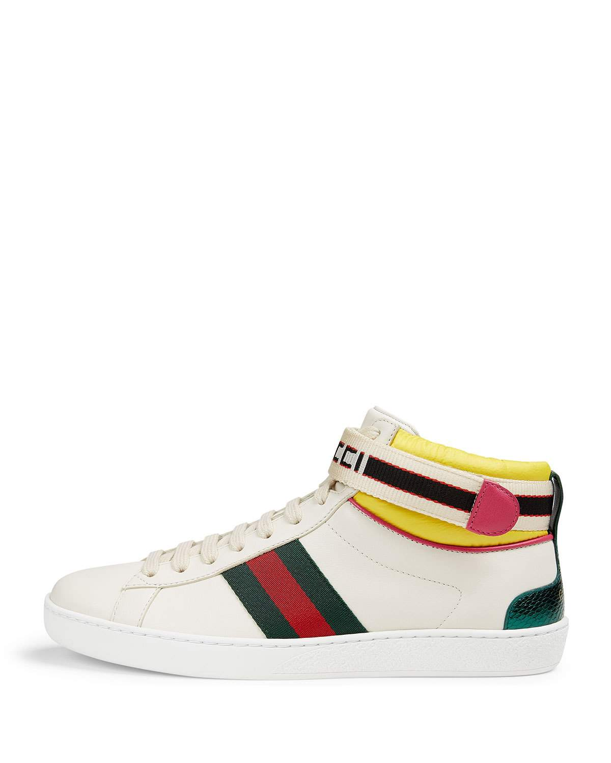 b3fc11d6d962 Gucci Ace Leather High-Top Sneaker with Logo Ankle Strap