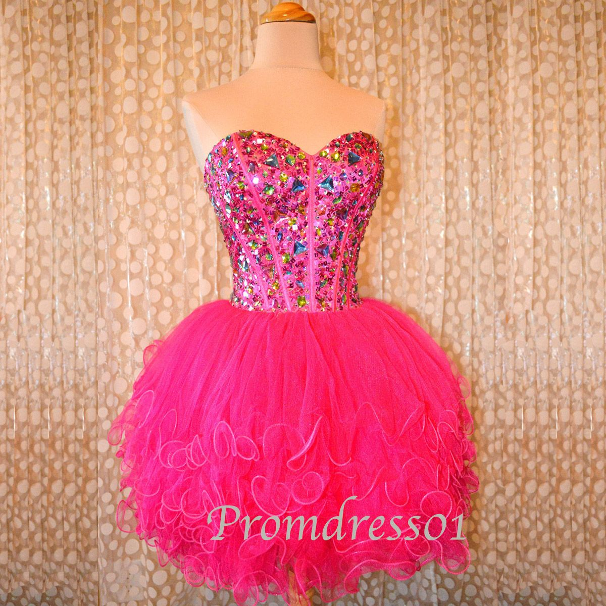cute sweetheart strapless sparkly beaded rose tulle mini prom