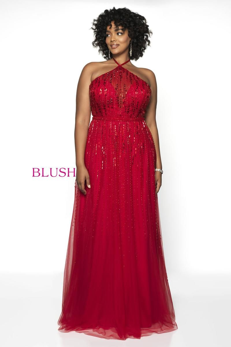 2c0640bc56bf Style 11756W from Blush Too is a Hand Beaded Tulle halter neck plus size  prom gown with spaghetti straps and an open back.