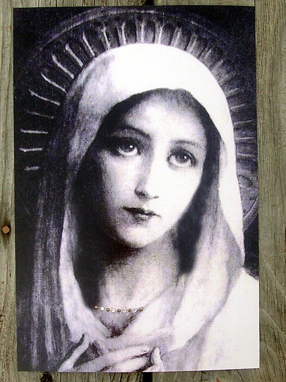 "Mother Mary, Vintage Holy Card Reproduction with Swarovski Crystals Stunning Print 8"" x 12"""