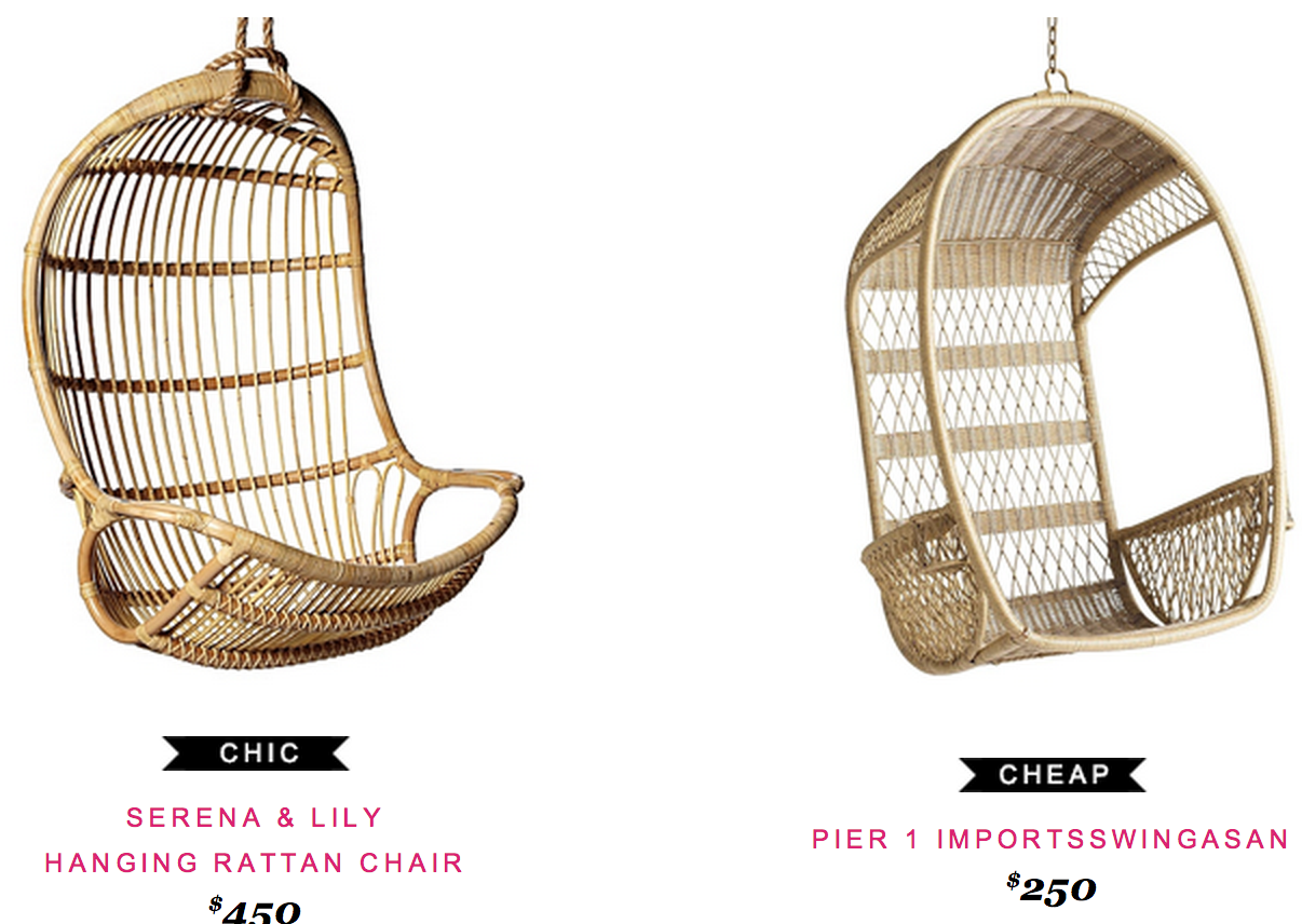 serena and lily hanging chair lifetime chairs tables rattan copy cat chic