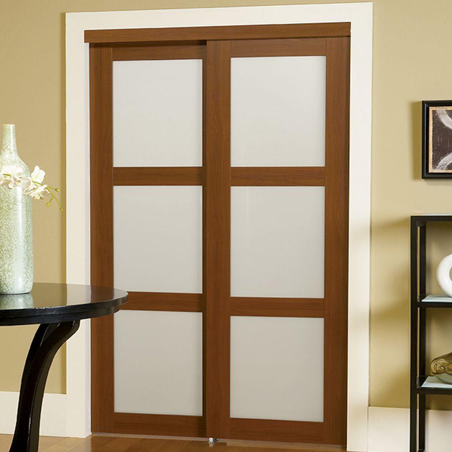 Reliabilt 3 Lite Frosted Glass Sliding Closet Interior Door Common