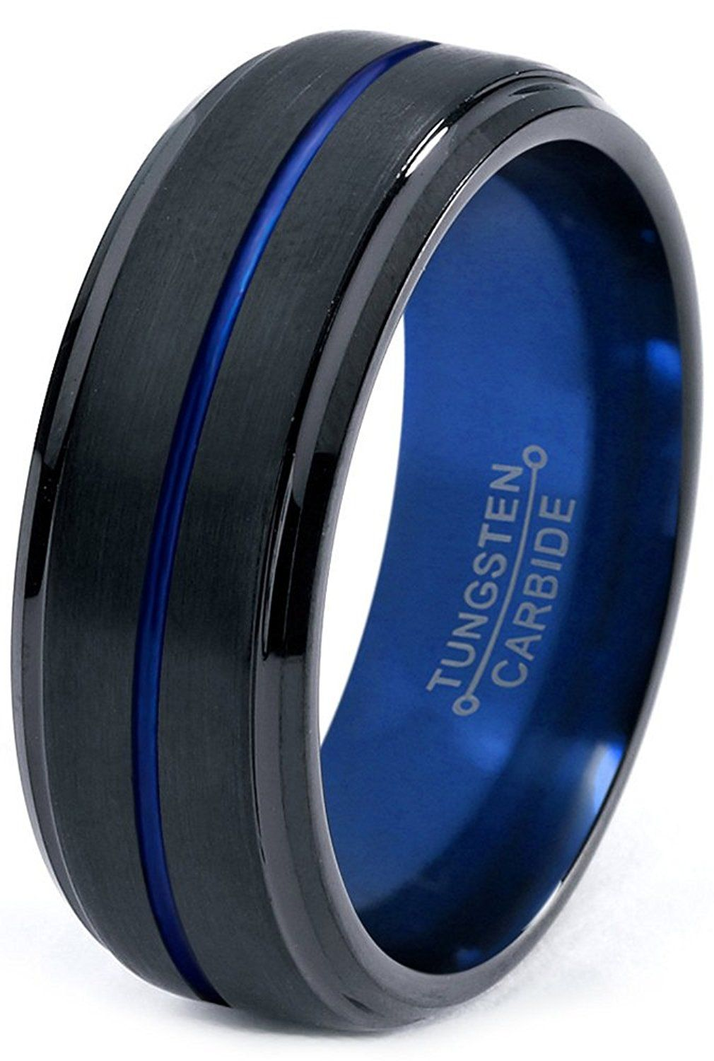Tungsten Wedding Band Ring 8mm for Men Women Blue Black Beveled Edge Brushed Polished *** Check this awesome image  : Wedding Rings