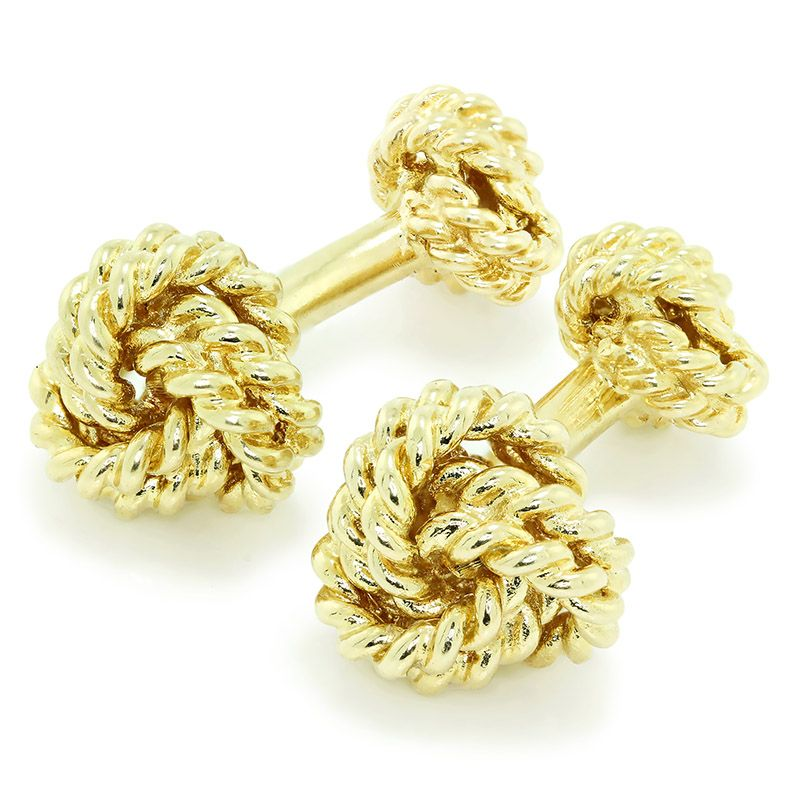 Tiffany & Co. Woven Knot Cuff Links in 18kt Yellow Gold