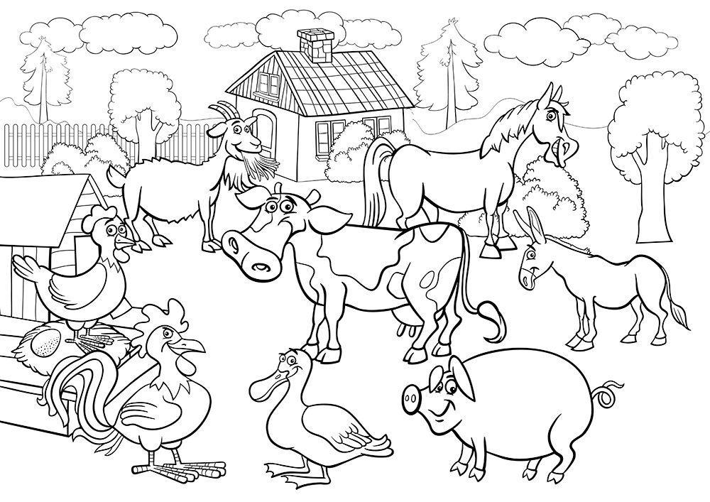 Download Or Print The Free Barn Animals Farm Coloring Page And Find Thousands Of Other Barn Farm Animal Coloring Pages Farm Coloring Pages Coloring Book Pages