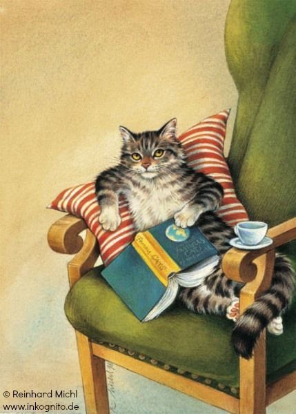 """Reading Cat postcard © Reinhard MICHL (Artist. Bavaria, Germany). Postcard available at link. From """"Die Kuh in den Wolken"""" / The Cow in the Clouds available at http://www.amazon.de/Die-Kuh-Wolken-Nathan-Zimelman/dp/3570122247. Artist site: http://www.reinhard-michl.de/  HOW TO FIND the ORIGINAL WEB SITE of an image: http://pinterest.com/pin/86975836525507659/  PINTEREST on COPYRIGHT:  http://pinterest.com/pin/86975836526856889/"""