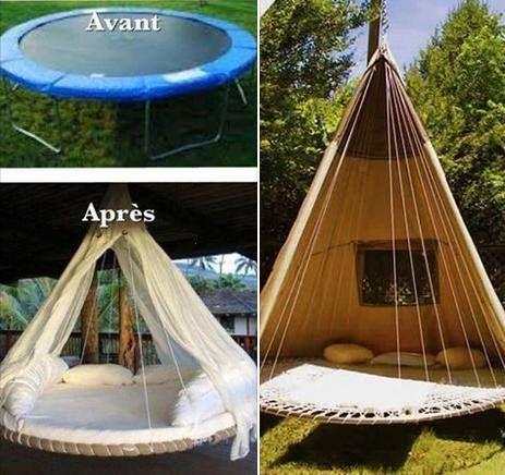 lit hamac trampoline home pinterest lit hamac hamacs et lits. Black Bedroom Furniture Sets. Home Design Ideas