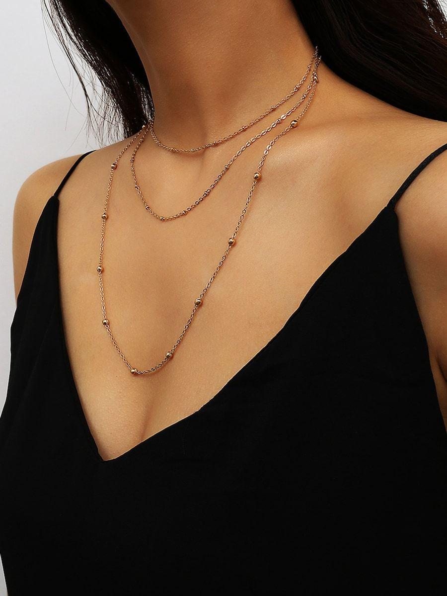 e7414f45ec Bead Detail Layered Chain Necklace -SheIn(Sheinside) | //accessories ...