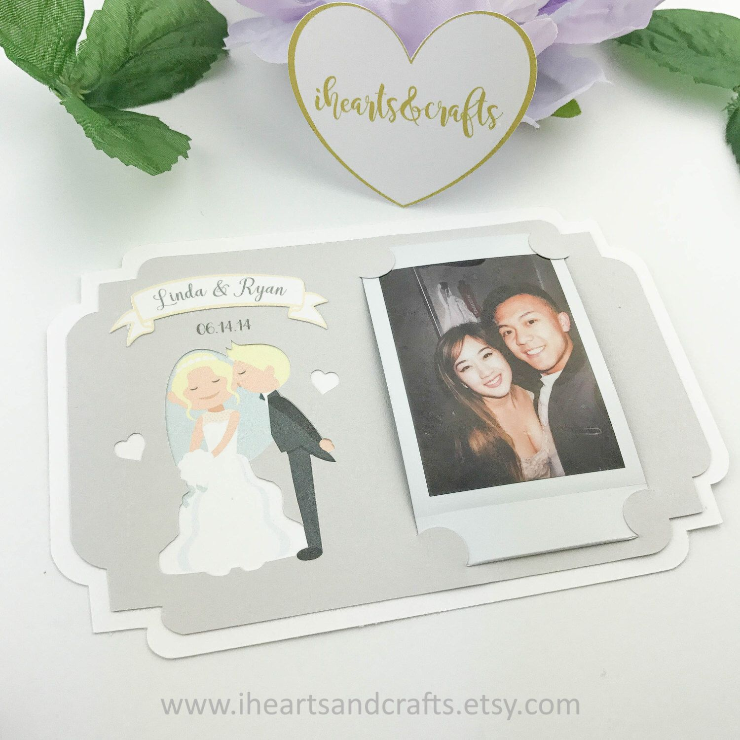 Picture frame holder w/cutout, text & banner for FUJI instax photo ...