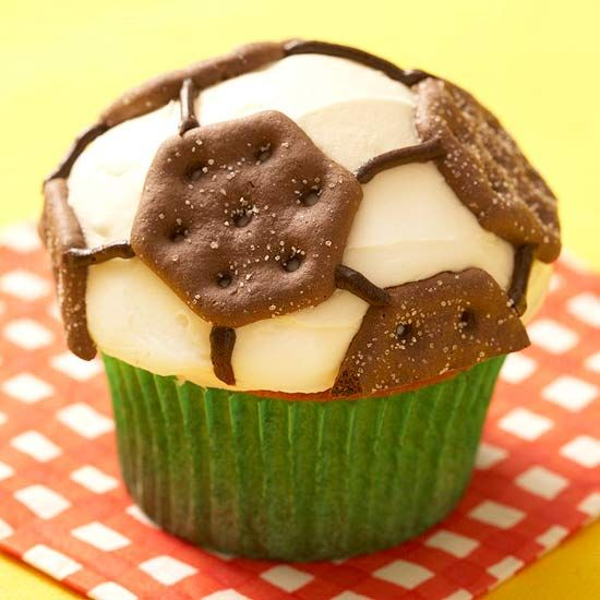 Decorate cupcakes with chocolate wafer cookies for a treat your soccer star will love.