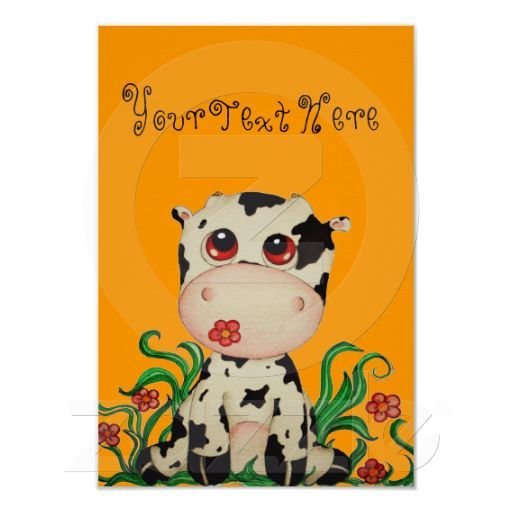 Cute Baby Cow Customizable Poster for Children by SimonaMereuArt $15.20