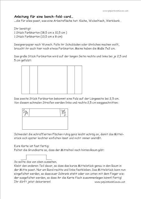 Anleitung Bench Fold Card Wickelkommode Basteln Mit Papier Vorlagen Step Card Ausgefallene Faltkarten
