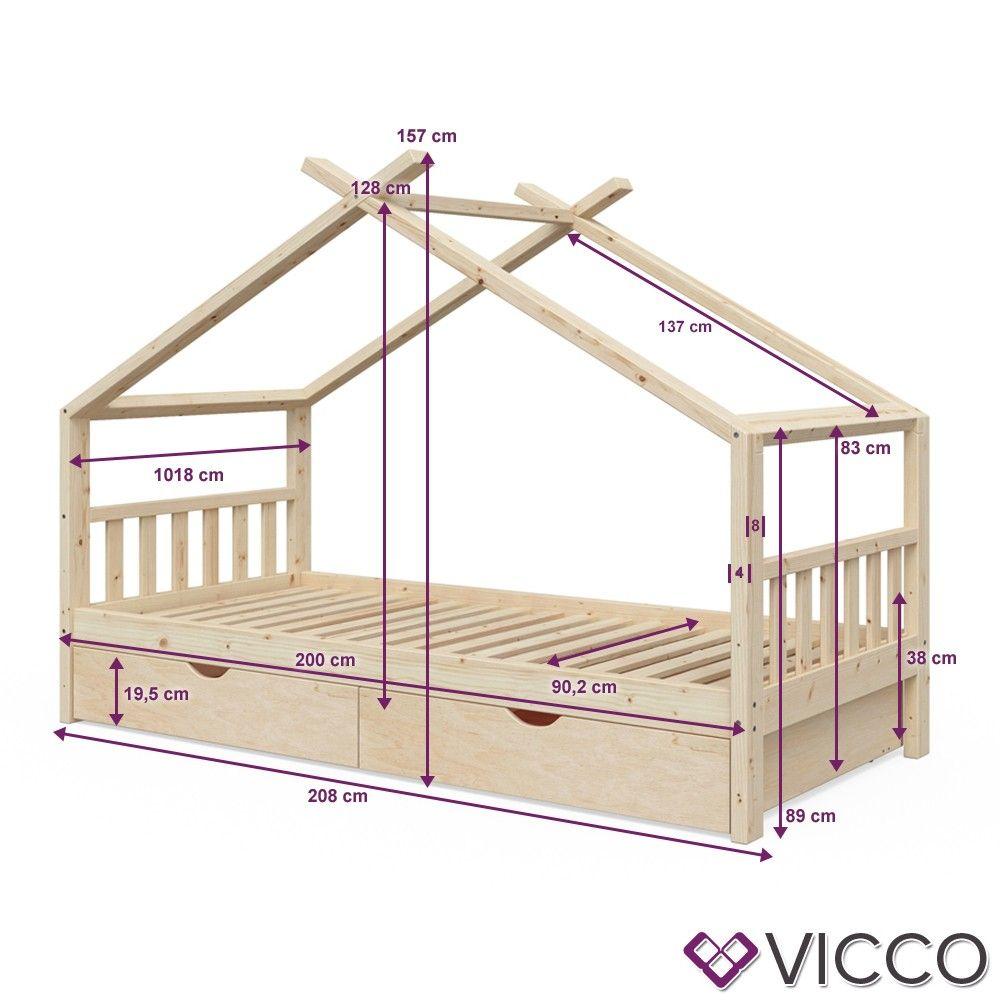 Vitalispa Kinderbett Design 90x200 Unbehandelt Hausbett Kinderhaus