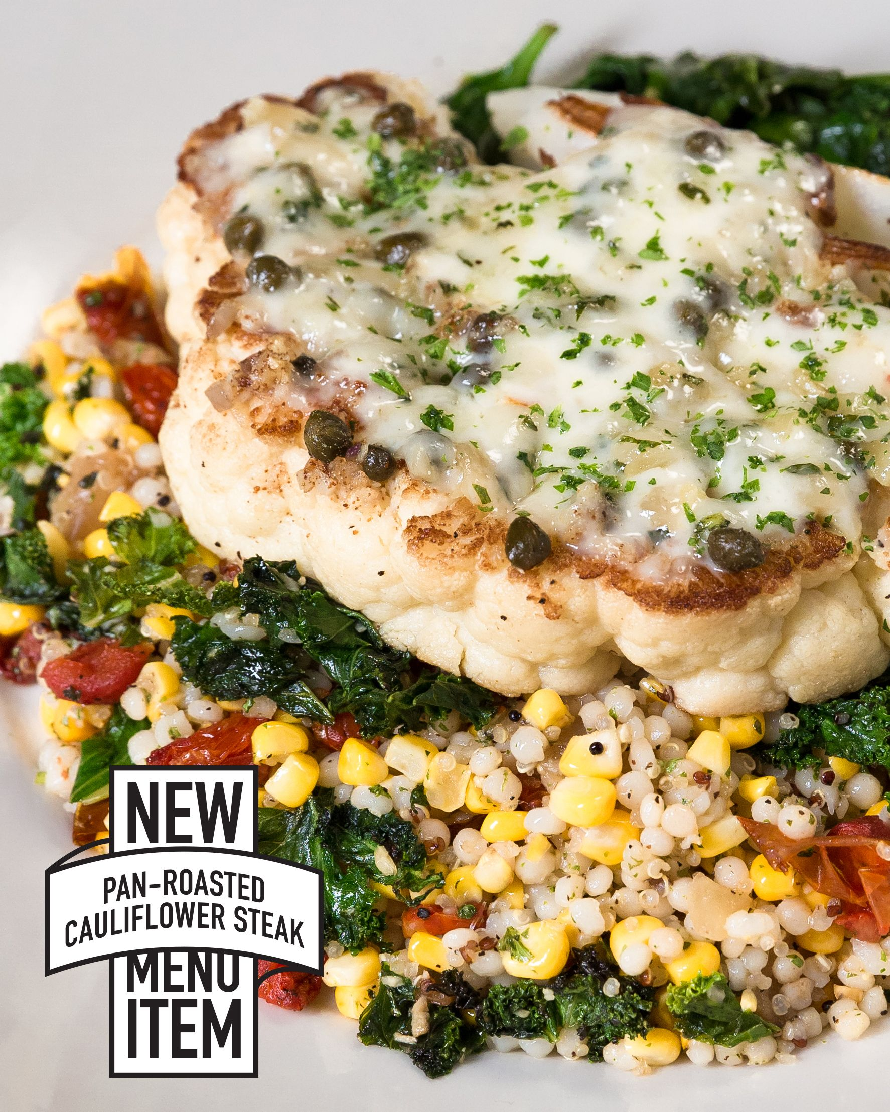 Cauliflower Steak With Brown Butter Herbs Capers And Parmesan Served With Spinach And Couscous Cauliflower Steaks Gourmet Food Plating Vegetarian Recipes