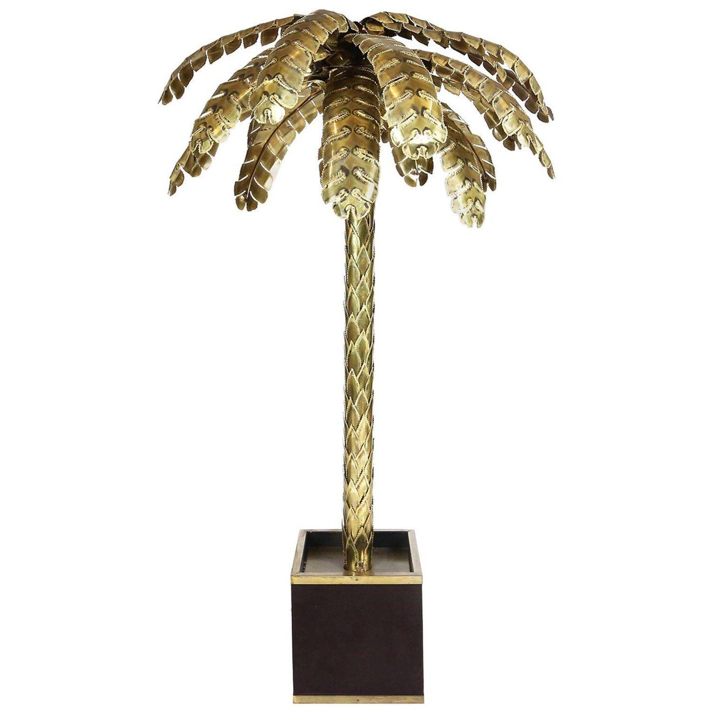 Maison Jansen Large Brass Palm Tree Floor Lamp 1970s Floor Lamp Tree Floor Lamp Vintage Floor Lamp