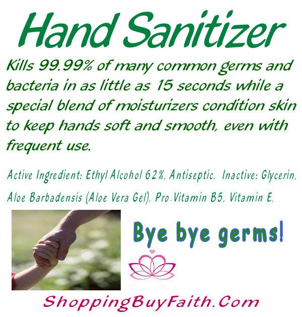 Hand Sanitizer Bye Bye Germs Kills 99 99 Of Common Germs In 15