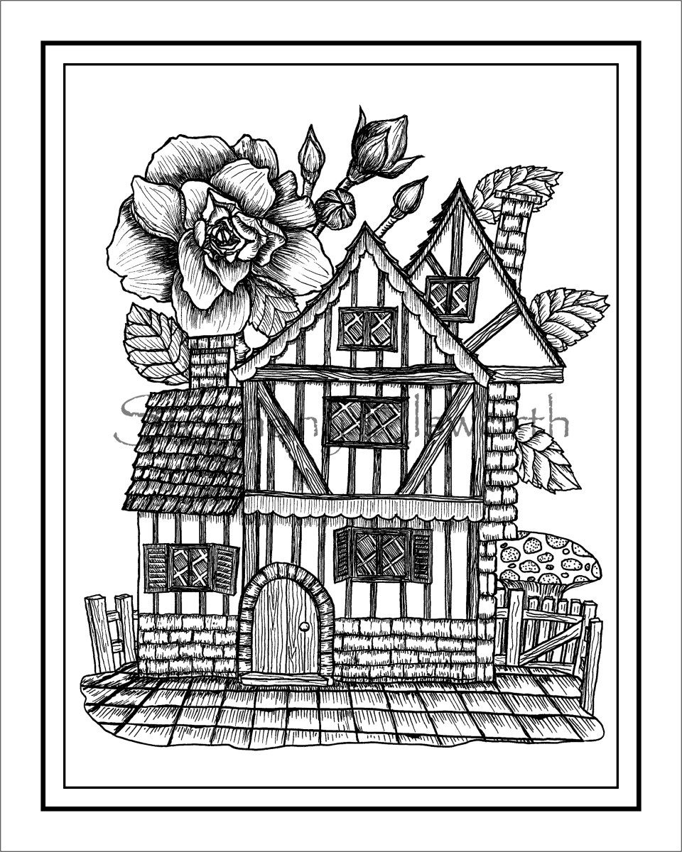 Tudor style fairy house printable instant download pdf coloring page