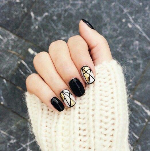 Black And Gold Star Nails White Nail Designs Geometric Nail Minimalist Nails