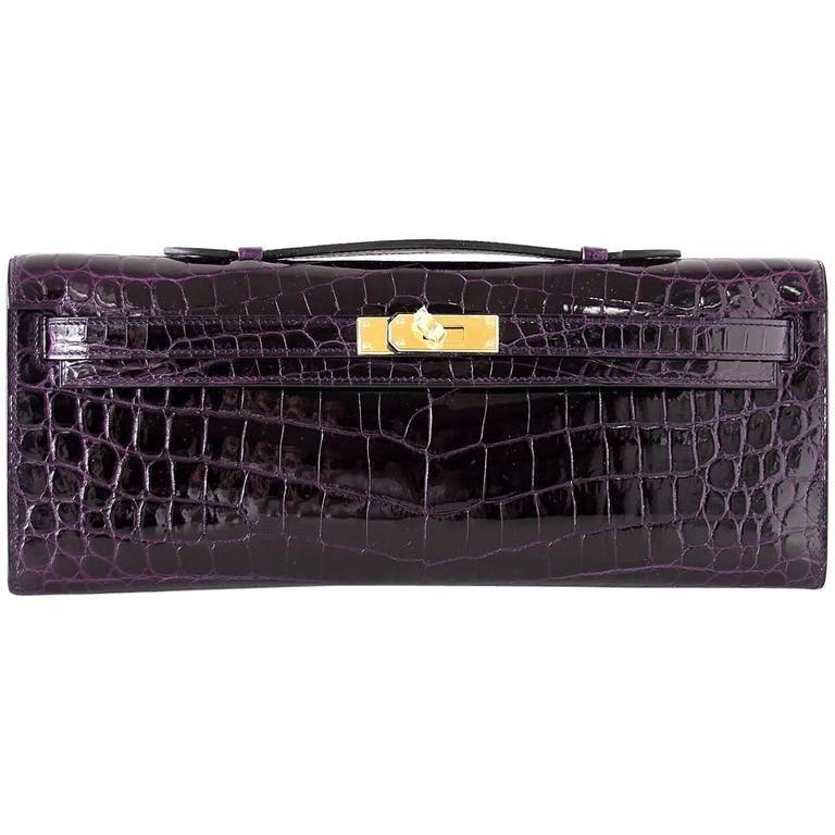8544af1ae82 ... new zealand hermes kelly cut clutch aubergine purple plum crocodile  gold hardware f5790 025d0 ...